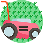 A pink lawn mower mowing a yard